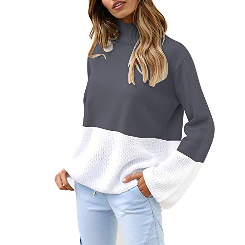 MYMYG Damen Stricken Pullover Locker gestrickt warm Tops Mode Frauen Gestrickte Patchwork Langarm Strickjacke T-Shirt Lose Langarmshirt Pulli Shirt