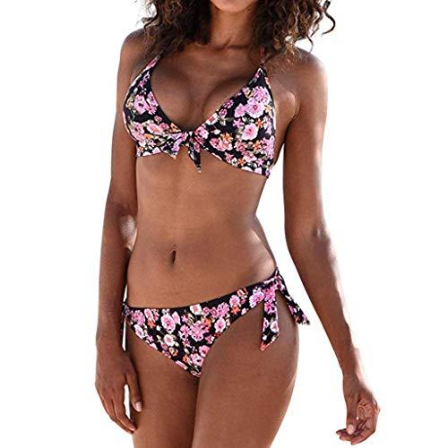 en Sexy Bademode Push Up Bikinis Badeanzug Zweiteiler Strand Swimwear Swimsuits Beachwear Boxer Bikini Bottoms Bademode(Rosa 2,L) ()
