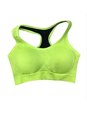 swall owuk Mujer Ropa Interior Deportes profesionales antigolpes secado rápido Yoga Ropa sport Chaleco verde verde...