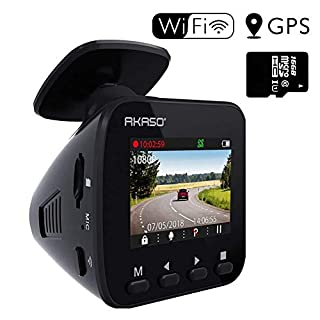 AKASO V1 Dash Cam Dashboard Recording Camera Car Recorder, 1296P FHD, Built-in GPS, SONY Sensor, WIFI with Phone APP, Night Vision, Loop Record, Parking Monitor, 170°Wide Angle, (16GB Card Included)