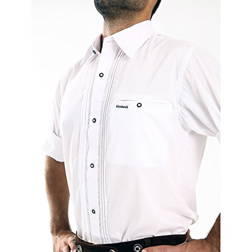 almbock trachten hemd herren wei trachtenhemd mit standard kent kragen aus baumwolle f rs. Black Bedroom Furniture Sets. Home Design Ideas