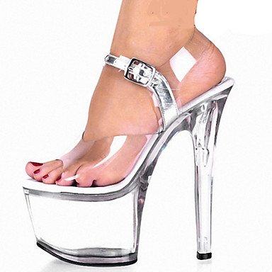LFNLYX Donna Sandali Primavera Estate Autunno Comfort Novità PVC party di nozze & abito da sera Stiletto Heel Platform Crystal HeelCrystal Sequin,Bianco,US5.5 / EU36 / UK3.5 / CN35