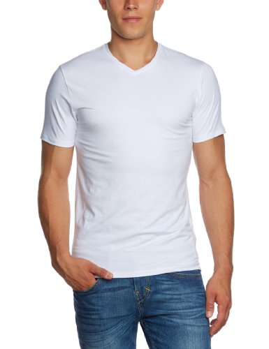 SELECTED HOMME Herren T-Shirt 16034243 Pima ss v-neck Weiß (White)