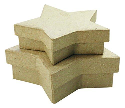 Décopatch BTS909C 2 Schachtel in Sternenform flach aus Pappmaché, zum Verzieren, perfekt für Ihre Wohndeko, Kartonbraun, 2er Pack