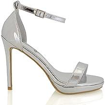 Essex Glam Sintético Zapatos de fiesta de punta bierta con tacón alto, plataforma y tira al tobillo