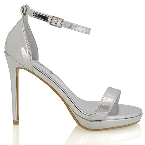 ESSEX GLAM Damen Hoher Absatz Fesselriemen Schnalle Stilettos High Heels Schuh Riemchensandalen (EU 40, Silber Metallisch)
