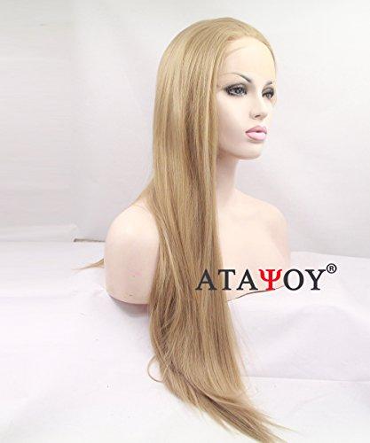 ATAYOU 24 Zoll Weiche Lange Gerade Synthetische Lace Front Perücken Halbe Handgebundene Hellbraune Perücken Für Frauen