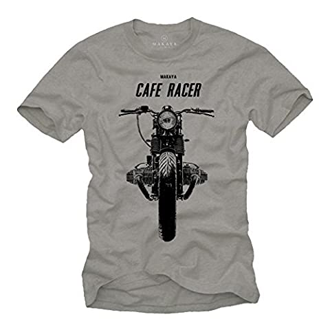Tee Shirt Moto Cafe Racer Vintage BOXER TWIN Homme Gris