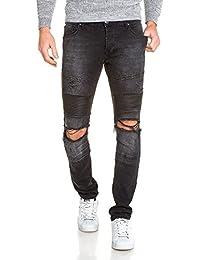 BLZ jeans - Jeans homme noir délavé troué slim