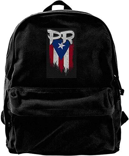 wergod Canvas Backpack Puerto Rico PR Flag Boricua Rucksack Gym Hiking Laptop Shoulder Bag Daypack for Men Women -