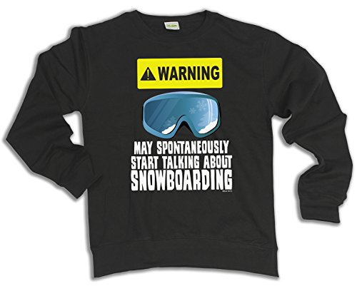 Warning May Spontaneously Talk About Snowboarding Hoodie Sweater Uomo Donna Unisex (Sweater) Black