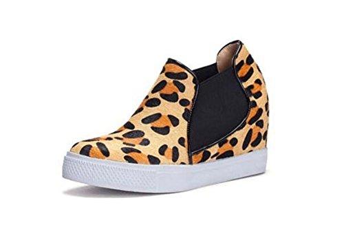 LDMB impermeabile scarpe piattaforma cavallo capelli leopardo di pendenza scarpe con tacco a cuneo delle donne , leopard , 39