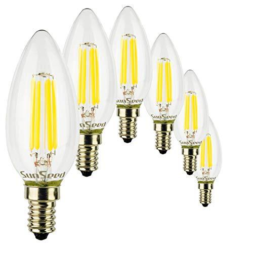 Kerze Lampe Olive (SunSeed® 6x Glühfaden LED Kerze Lampe E14 4W ersetzt 40W Neutralweiß 4000K)