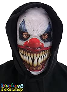 White Demon Killer Clown Adult Face Mask Realistic Printed Lycra for Halloween