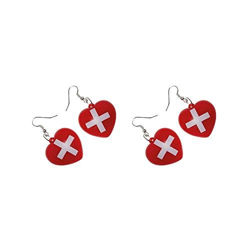 Preis am Stiel 2 Paar - Ohrringe ''Krankenschwester'' | Karneval | Fasching | Accessoires | Verkleidung | ()