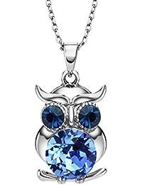 NEOGLORY Collar de Búho con Cristales SWAROVSKI AZUL CHAMPAGNE Joya Original Regalo Niña Chica Mujer