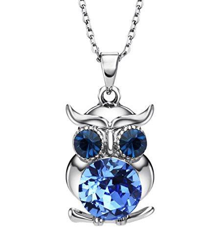 NEOGLORY Collar de Búho con Cristales SWAROVSKI AZUL Joya Original Regalo Niña Chica Mujer