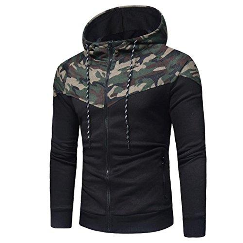 Männer Hood Pullover SHOBDW Männer Camouflage Langarm-Druck mit Kapuze Sweatshirt Tops Jacke Mantel Outwear (L, Camouflage)