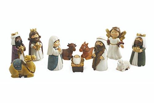 Galileo Casa Weihnachtskrippe Set Krippenfiguren, Polyresin, Bunt, 3x 3x 8cm, 11-