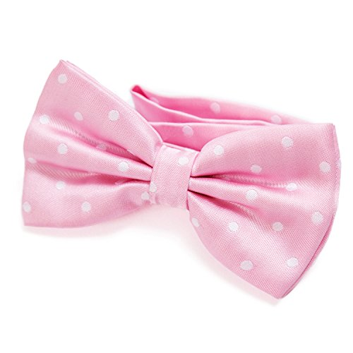 DonDon Pajarita para Hombre de lunares Punto rosa elegante con gancho con nudo y ajustable