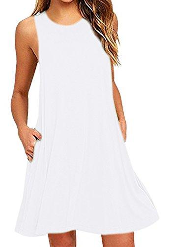 OMZIN Damen Lockeres Sommerkleid mit Taschen Tanktop Ärmellos Shirtkleid Übergröße Weiß XXL