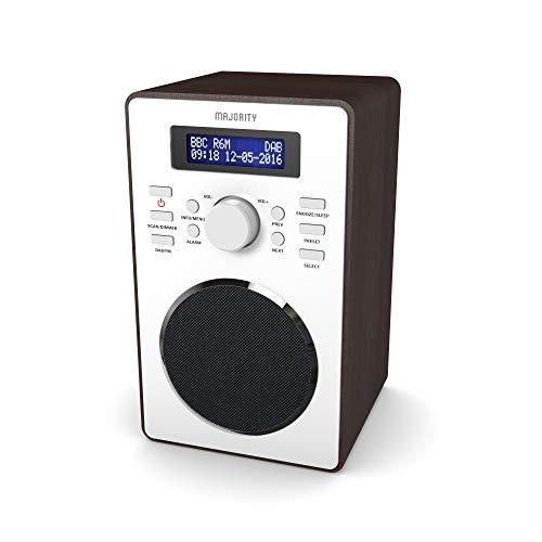 MAJORITY Barton II DAB/DAB+/UKW Digital-Radio, Uhrenradio, Dualer Radiowecker Weckzeiten, Schlummerfunktion und Sleeptimer, Kopfhörer-Anschluss (Nussbaum)