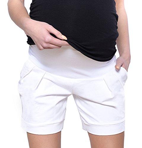 Mija Kurze Umstandsshorts / Umstandshose mit Bauchband für Sommer 1047 (EU38 / M, Weiß)