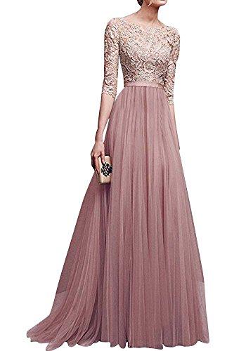 Damen Abendkleider Lange (Damen Elegant Chiffon Lang Kleid Abendkleider Partykleider Festkleider Brautjungfer Cocktailkleid Aprikose M)
