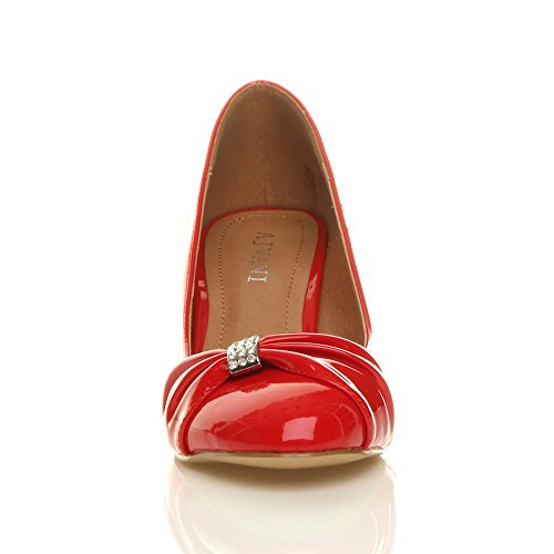 Ajvani Damen Mittlere Absatz Strass Abschlussball Abend Hochzeit Schuhe Pumps Größe Rot Lack