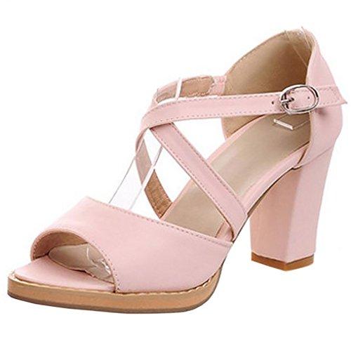 COOLCEPT Damen Mode Kreuz Sandalen Open Toe Blockabsatz Schuhe Rosa