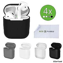 Schutzhüllen für Apple AirPods Gehäuse - 4er-Pack (Schwarz, Weiß, Grau und Transparent) - Silikonschalen - Schützt das Gehäuse Ihrer AirPods vor Kratzern und Stößen - Bietet besseren Grip