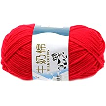 Smooth Soft Milk Cotton Natural Hand Knitting Wool Yarn Ball Baby Wool Craft-Red