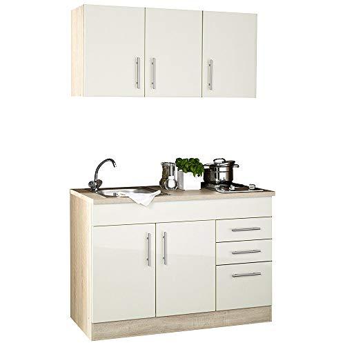 Lomadox Küchenblock Single-Küche 120cm in Creme Hochglanz inkl. Kochmulde und Spüle