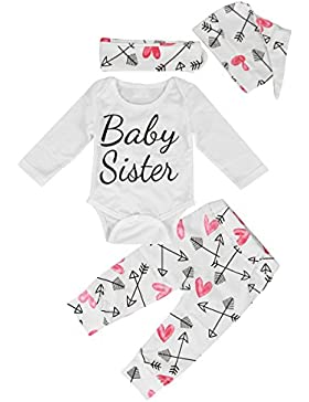 Puseky Neugeborene Baby Buchstaben Spielanzug Hose Stirnband Outfit Kleidung Strampler Set