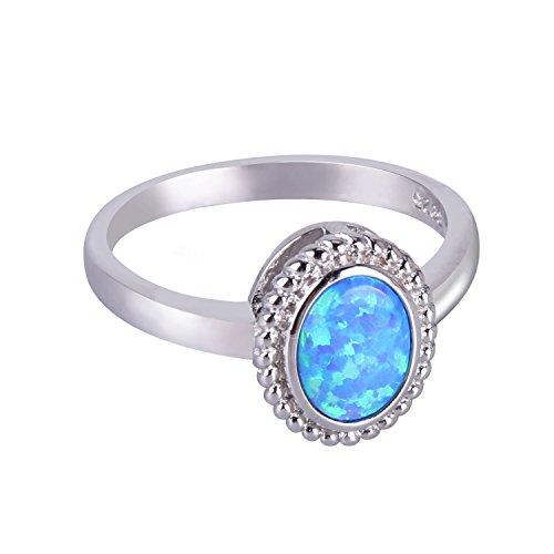 KELITCH Schmuck Ringe Frauen Versilbert Oval Blau Opal Solitär Damen Ring - Größe 8 (57mm)