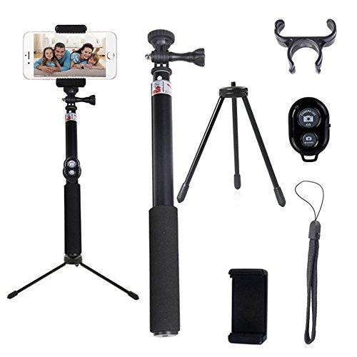 Bastone Selfie Stick Bluetooth Asta per Autoritratto Fotografico Espandibile con Remote Shutter, Compatibile con Smartphone iOS e Android: iPhone 7/ 7Plus/ 6s / 6s Plus / 6 / 6 Plus /5s /5c /5, Huawei P9/P8, Samsung Galaxy Note3 /2 /s5 /s4 /s3, Google Nexus ecc - Nero