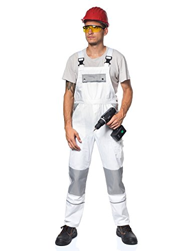 Arbeitskleidung für Maler: TMG® – Herren Latzhose für Maler/Lackierer – strapazierfähig – Weiß