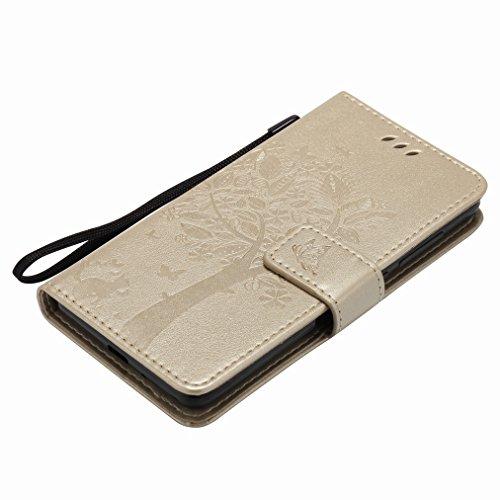 Custodia Xiaomi Rossomi 3s Cover Case, Ougger Fortunato Foglia Stampa Portafoglio PU Pelle Magnetico Stand Morbido Silicone Flip Bumper Protettivo Gomma Shell Borsa Custodie con Slot per Schede (Caffè Oro