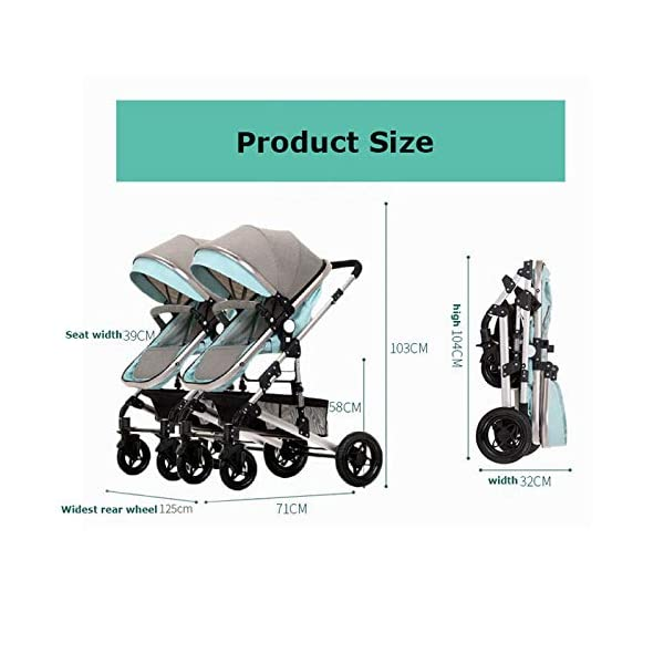 GHH Double Strollers Baby Pram Tandem Buggy Newborn Pushchair Ultra Light Folding Child Shock Absorber Trolley Can Sit Half Lying 0-3 Years Old,60kg Maximum,UpgradedversionBlue GHH 1. {Four seasons can be} - Three-sided mesh design, the awning can be adjusted to multiple angles, easy to cope with the sun 2. {75CM high landscape} - Baby can stay away from the ground heat, car exhaust to ensure your baby's health 3. {Multiple shock absorption design} - Body frame spring shockproof, rear wheel, two wheel brakes, wheel spring shockproof, baby safety 7