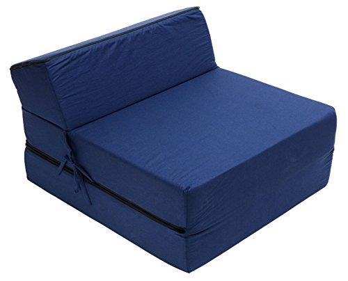 Best For Kids Kindersessel Bettsessel Funktionssessel Jugend Kindermatratze zum schlafen und spielen 3 in 1 (Marineblau)