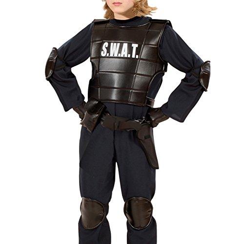 Kugelsichere Polizei Weste Kostüm (Widmann 2855C - Einsatzweste SWAT, für Kinder, schwarz,)