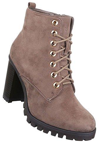 Damen Schuhe Stiefeletten Schnür Boots Braun Braun