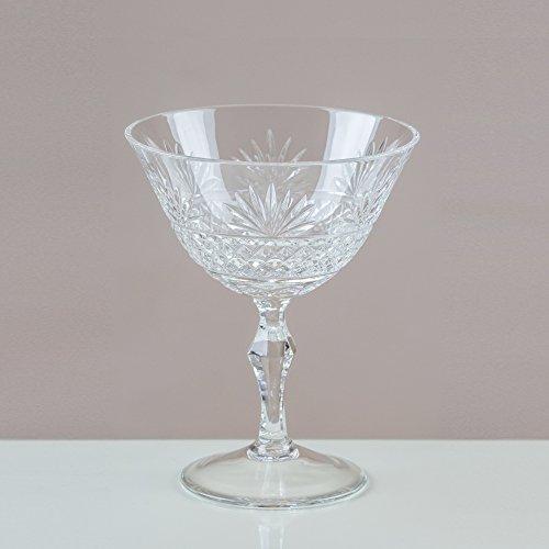 Victoria Kristall graufächerschwanz Champagner Coupes/Untertassen 24% geschliffenes Bleikristall 100% Handgefertigt (Set von 6) Cut Punch Bowl