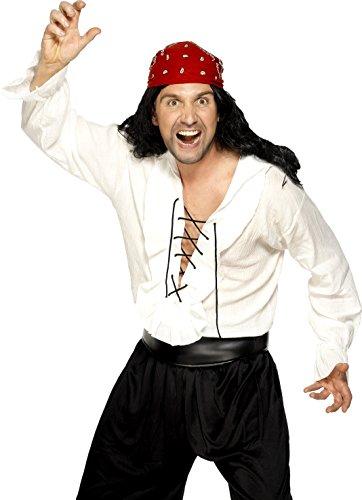 Smiffys, Herren Piraten Hemd, Hemd mit Schnürfront, Größe: M, (Piraten Herren Hemd)