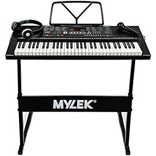 Mylek 61 Key Portable Electronic Musical Teaching Piano Music Keyboard with Stand, Headphones and Microphone