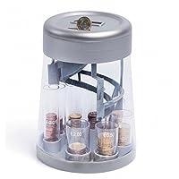 Questo salvadanaio organizza in modo intelligente le tue monete . Devi soltanto introdurle dentro lo spazio superiore e ogni moneta cadrà su una sezione piuttosto che un'altra a seconda del suo valore. E' composto da un sistema di conteggio d...