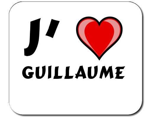 Tapis de souris avec une inscription: J'aime Guillaume (Noms/Prénoms)