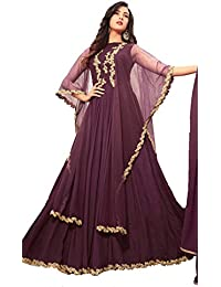 Viha Women's Georgette Embroidered Purple Semi-stitched Anarkali Salwar Suit