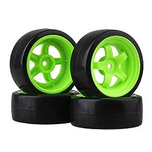 BQLZR 65 mm OD Black Plastic Glatte Reifen mit gr¨¹NEN Felgen f¨¹r RC 1: 10 On Road Racing & Drift Car 4er Pack