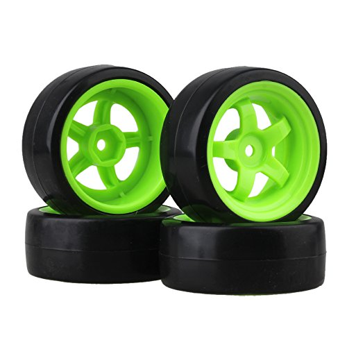 BQLZR 65 mm OD Black Plastic glatte Reifen mit gr¨¹nen Felgen f¨¹r RC 1: 10 On Road Racing & Drift Car 4er Pack